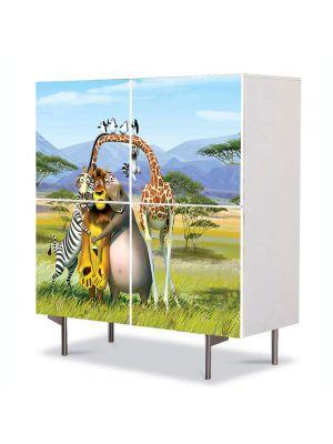 Comoda cu 4 Usi Art Work pentru Copii Animatie Madagascar The Crate Escape , 84 x 84 cm