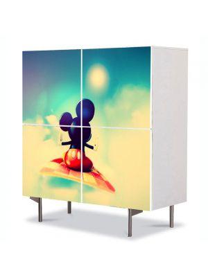 Comoda cu 4 Usi Art Work pentru Copii Animatie Disney Mickey Mouse , 84 x 84 cm