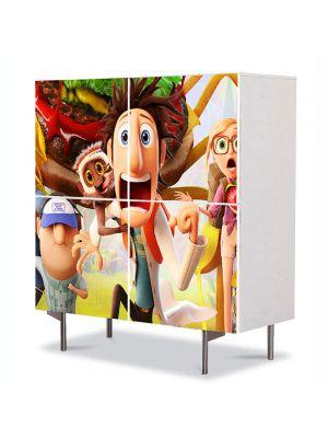 Comoda cu 4 Usi Art Work pentru Copii Animatie Cloudy With a Chance of Meatballs 2 , 84 x 84 cm