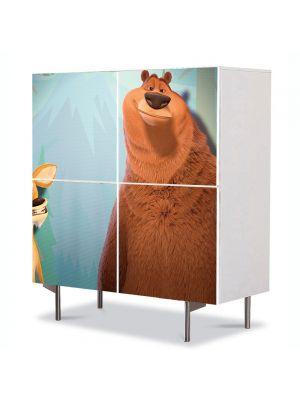 Comoda cu 4 Usi Art Work pentru Copii Animatie Open Season Boog si Elliot , 84 x 84 cm