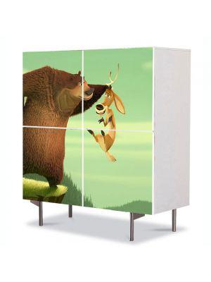 Comoda cu 4 Usi Art Work pentru Copii Animatie Open Season Ursul Boog , 84 x 84 cm