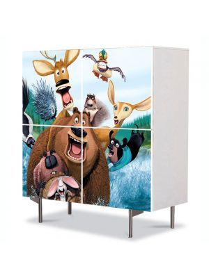 Comoda cu 4 Usi Art Work pentru Copii Animatie Open Season  , 84 x 84 cm