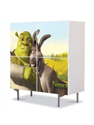 Comoda cu 4 Usi Art Work pentru Copii Animatie Shrek si Donkey Ultimul Capitol , 84 x 84 cm
