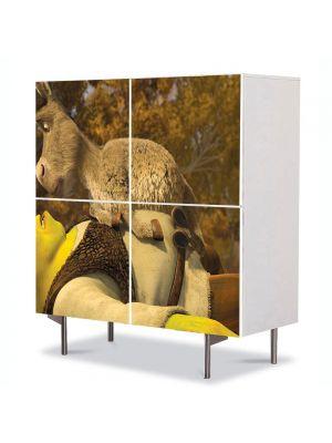 Comoda cu 4 Usi Art Work pentru Copii Animatie Shrek si Personajul Magarul , 84 x 84 cm