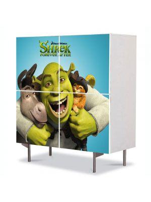 Comoda cu 4 Usi Art Work pentru Copii Animatie Shrek si Motanul Incaltat , 84 x 84 cm