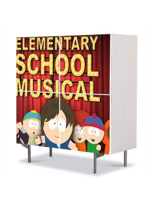 Comoda cu 4 Usi Art Work pentru Copii Animatie South Park Elementary School Musical , 84 x 84 cm