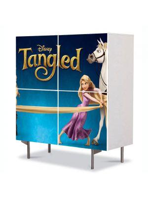 Comoda cu 4 Usi Art Work pentru Copii Animatie Tangled Rapunzel, Flynn si Maximus , 84 x 84 cm