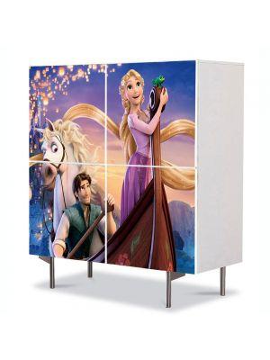Comoda cu 4 Usi Art Work pentru Copii Animatie Tangled Scena cu Barca , 84 x 84 cm