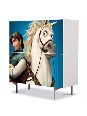 Comoda cu 4 Usi Art Work pentru Copii Animatie Tangled Flynn pe Cal , 84 x 84 cm