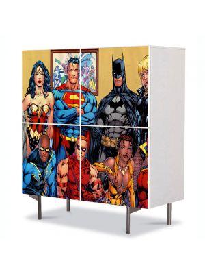 Comoda cu 4 Usi Art Work pentru Copii Animatie DC Comics Superheroes , 84 x 84 cm