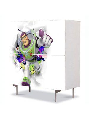 Comoda cu 4 Usi Art Work pentru Copii Animatie Toy Story Buzz Lighyear , 84 x 84 cm