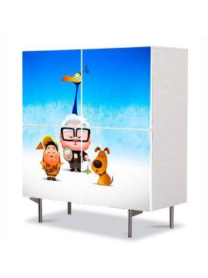 Comoda cu 4 Usi Art Work pentru Copii Animatie Up Kawaii , 84 x 84 cm