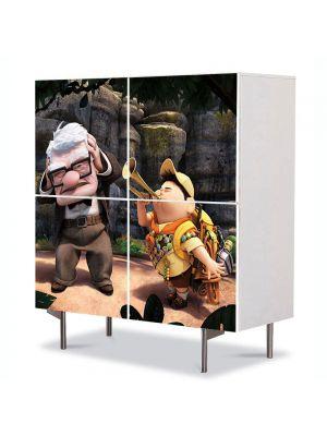 Comoda cu 4 Usi Art Work pentru Copii Animatie Up Film Pixar , 84 x 84 cm
