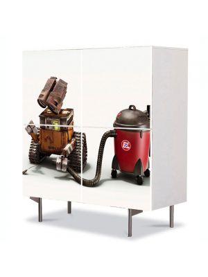 Comoda cu 4 Usi Art Work pentru Copii Animatie Robotel la treaba , 84 x 84 cm