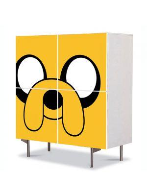 Comoda cu 4 Usi Art Work pentru Copii Animatie Adventure Time Jake , 84 x 84 cm