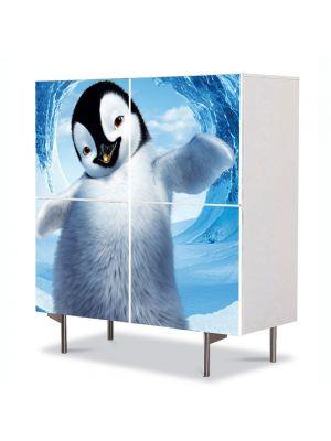 Comoda cu 4 Usi Art Work pentru Copii Animatie Happy Feet 2 , 84 x 84 cm