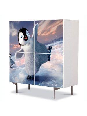Comoda cu 4 Usi Art Work pentru Copii Animatie Happy Feet , 84 x 84 cm