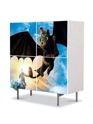 Comoda cu 4 Usi Art Work pentru Copii Animatie Hiccup and Toothless , 84 x 84 cm