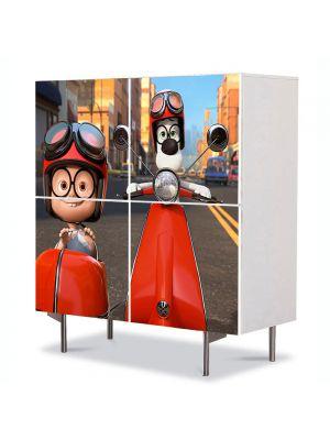 Comoda cu 4 Usi Art Work pentru Copii Animatie Mr Peaboy si Sherman 2014 , 84 x 84 cm