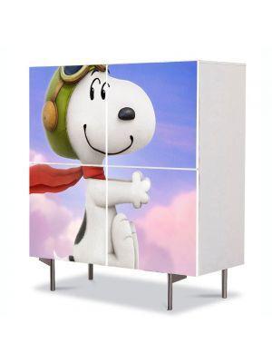 Comoda cu 4 Usi Art Work pentru Copii Animatie Peanuts Snoopy , 84 x 84 cm