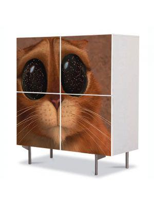 Comoda cu 4 Usi Art Work pentru Copii Animatie Puss in Boots The Three Diablos , 84 x 84 cm