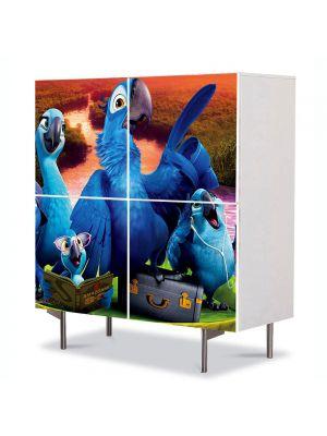 Comoda cu 4 Usi Art Work pentru Copii Animatie Rio 2 , 84 x 84 cm