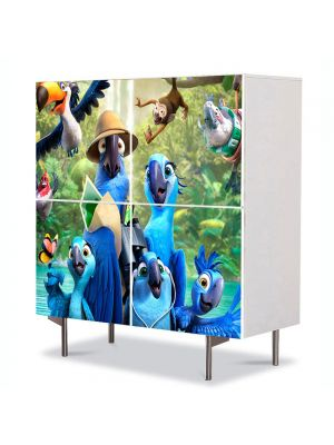 Comoda cu 4 Usi Art Work pentru Copii Animatie Rio 2 Film de Animatie , 84 x 84 cm