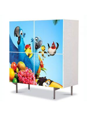 Comoda cu 4 Usi Art Work pentru Copii Animatie Rio Papagalul Albastru , 84 x 84 cm