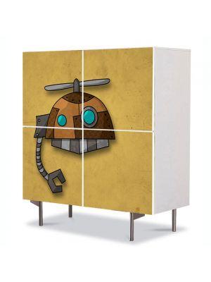 Comoda cu 4 Usi Art Work pentru Copii Animatie Robotel , 84 x 84 cm