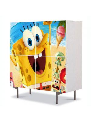 Comoda cu 4 Usi Art Work pentru Copii Animatie Spongebob 2015 , 84 x 84 cm