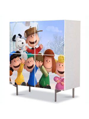Comoda cu 4 Usi Art Work pentru Copii Animatie The Peanuts Gasca Vesela , 84 x 84 cm