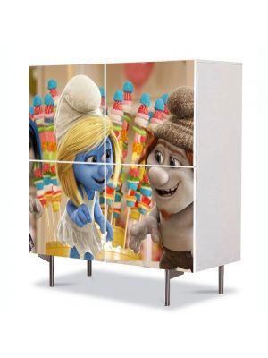 Comoda cu 4 Usi Art Work pentru Copii Animatie The Smurf 3 , 84 x 84 cm
