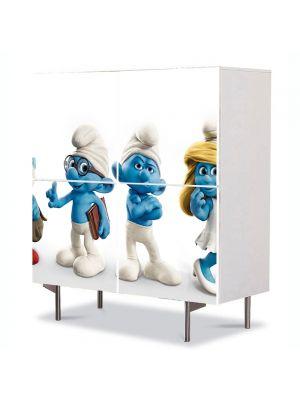 Comoda cu 4 Usi Art Work pentru Copii Animatie Strumfii de jucarie , 84 x 84 cm