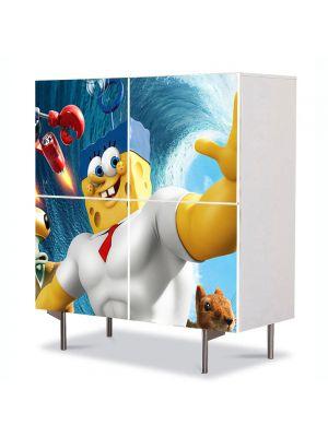 Comoda cu 4 Usi Art Work pentru Copii Animatie Spongebob Movie , 84 x 84 cm