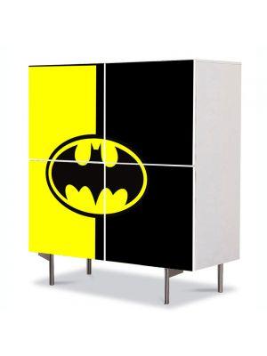 Comoda cu 4 Usi Art Work pentru Copii Animatie Batman Ilustratie Sigla , 84 x 84 cm
