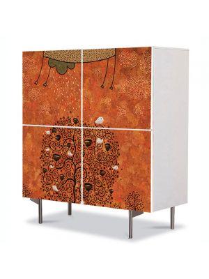 Comoda cu 4 Usi Art Work pentru Copii Animatie Copacul invataturii , 84 x 84 cm