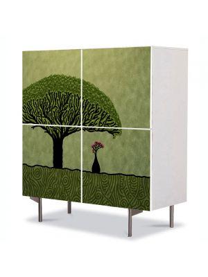 Comoda cu 4 Usi Art Work pentru Copii Animatie Cugetand sub copac , 84 x 84 cm