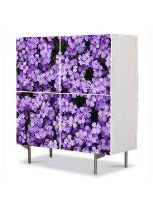 Comoda cu 4 Usi Art Work Flori Flori Violet Aubrieta, 84 x 84 cm