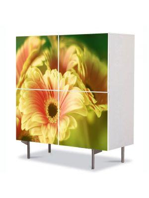 Comoda cu 4 Usi Art Work Flori Buchet de gerbera, 84 x 84 cm