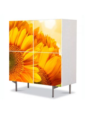 Comoda cu 4 Usi Art Work Flori Flori aurii, 84 x 84 cm