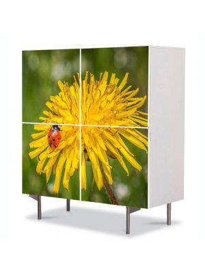 Comoda cu 4 Usi Art Work Flori Buburuza pe floare de papadie, 84 x 84 cm