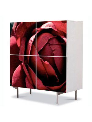 Comoda cu 4 Usi Art Work Flori Superb trandafir rosu inchis, 84 x 84 cm
