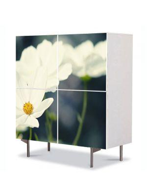 Comoda cu 4 Usi Art Work Flori Flori albicioase, 84 x 84 cm