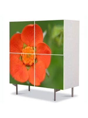 Comoda cu 4 Usi Art Work Flori O floare portocalie, 84 x 84 cm