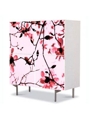 Comoda cu 4 Usi Art Work Flori Crengute de magnolie, 84 x 84 cm