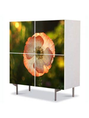 Comoda cu 4 Usi Art Work Flori Floare de mac inflorita, 84 x 84 cm