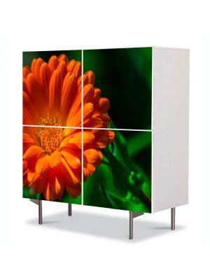 Comoda cu 4 Usi Art Work Flori Portocaliu si verde, 84 x 84 cm