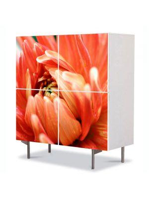 Comoda cu 4 Usi Art Work Flori Pasiune portocalie, 84 x 84 cm