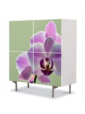 Comoda cu 4 Usi Art Work Flori Orhidee violet, 84 x 84 cm