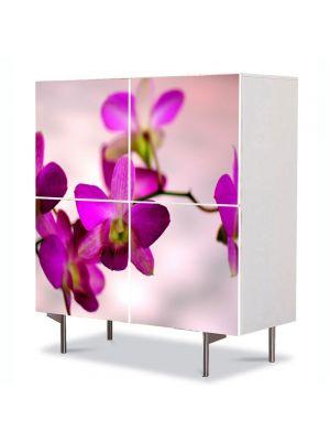 Comoda cu 4 Usi Art Work Flori Culoare de orhidee, 84 x 84 cm